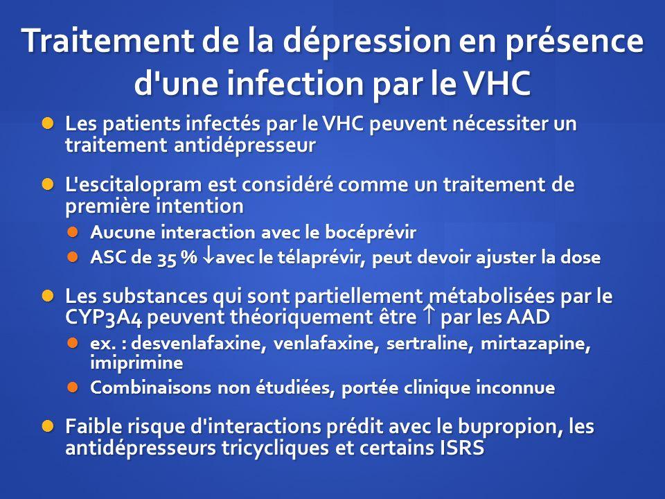 Traitement de la dépression en présence d'une infection par le VHC Les patients infectés par le VHC peuvent nécessiter un traitement antidépresseur Le