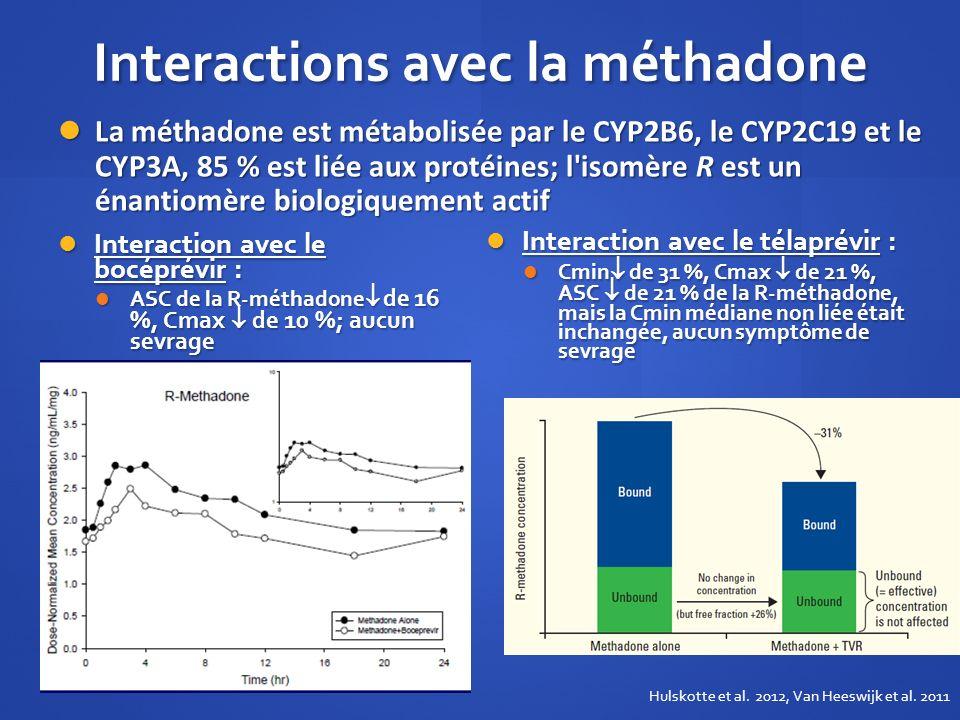 Interactions avec la méthadone Interaction avec le bocéprévir : Interaction avec le bocéprévir : ASC de la R-méthadone de 16 %, Cmax de 10 %; aucun se