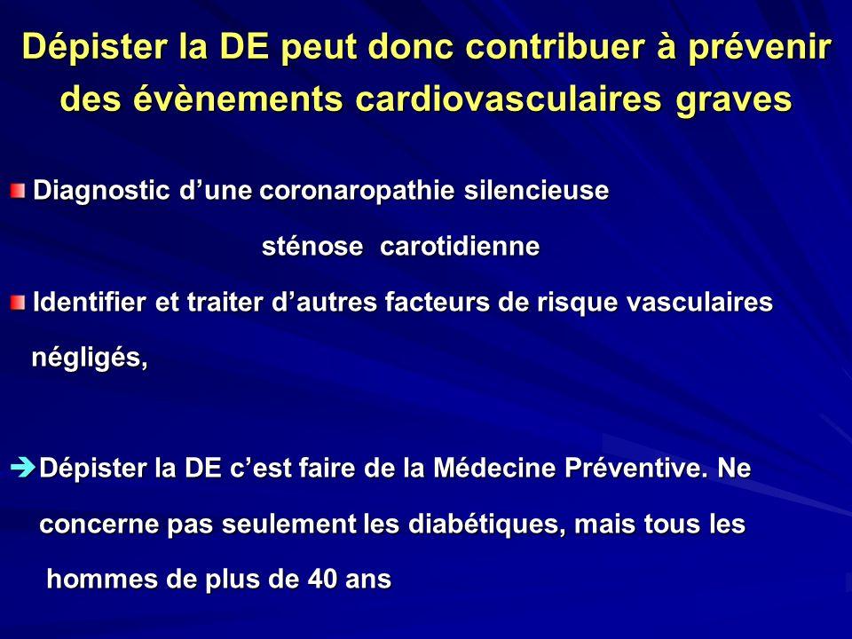 Dépister la DE peut donc contribuer à prévenir des évènements cardiovasculaires graves Diagnostic dune coronaropathie silencieuse Diagnostic dune coro