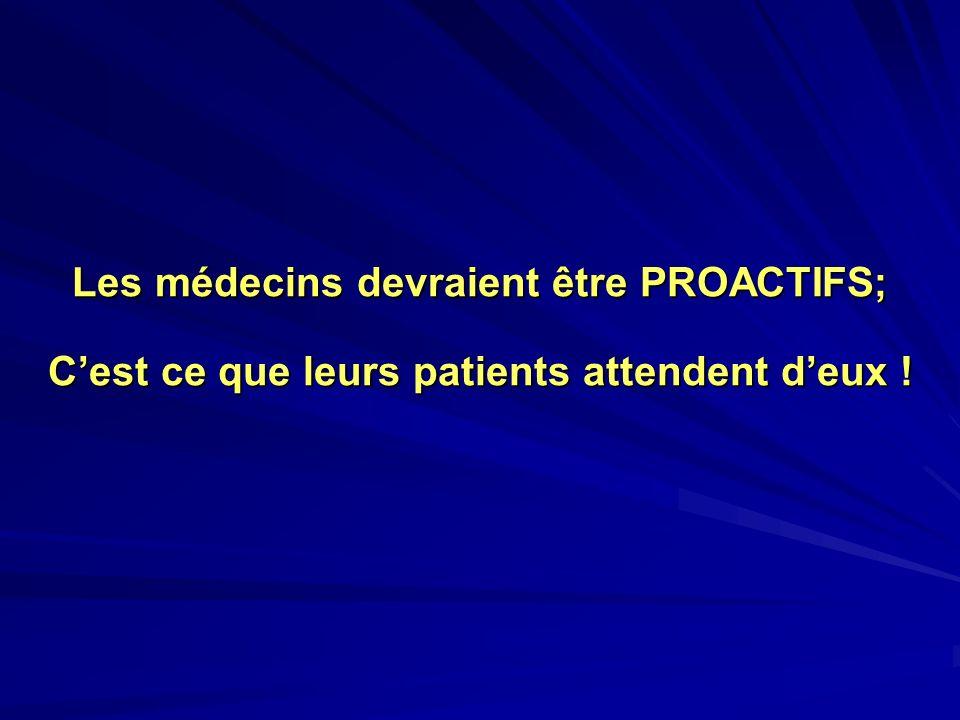 Les médecins devraient être PROACTIFS; Cest ce que leurs patients attendent deux !