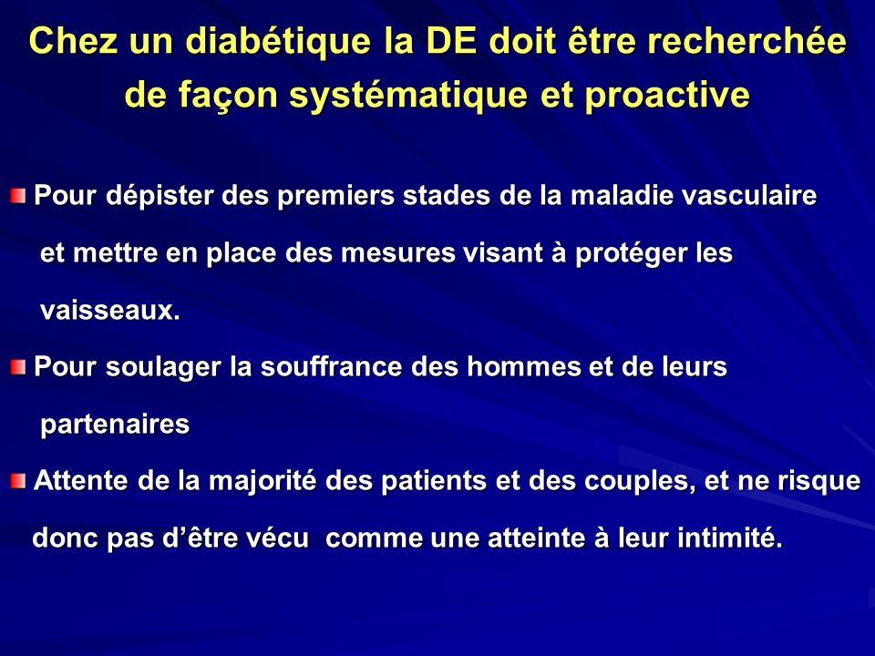 Chez un diabétique la DE doit être recherchée de façon systématique et proactive Pour dépister des premiers stades de la maladie vasculaire Pour dépis