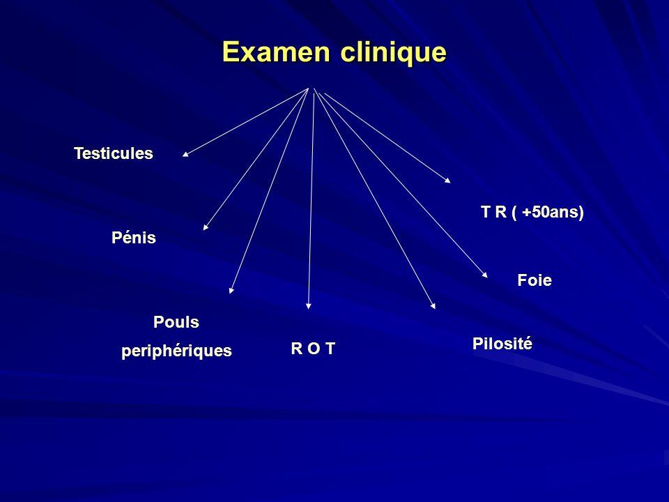 Examen clinique T R ( +50ans) Testicules Pénis Pouls periphériques R O T Pilosité Foie