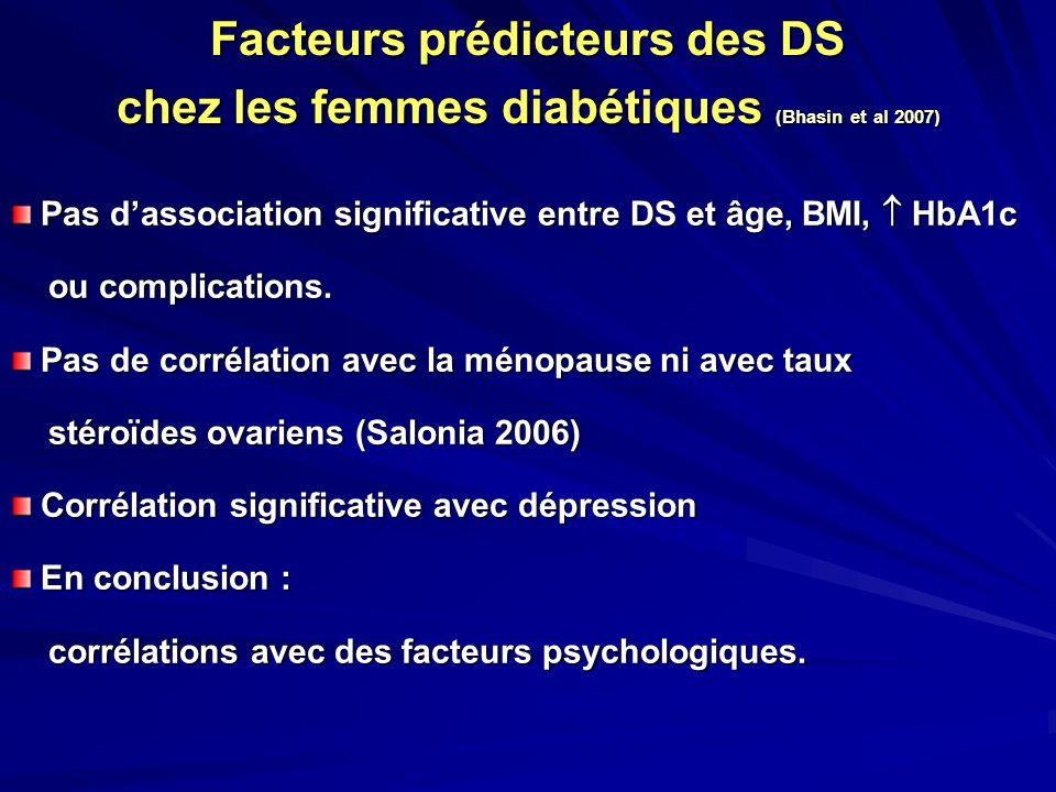 Facteurs prédicteurs des DS chez les femmes diabétiques (Bhasin et al 2007) Pas dassociation significative entre DS et âge, BMI, HbA1c Pas dassociatio