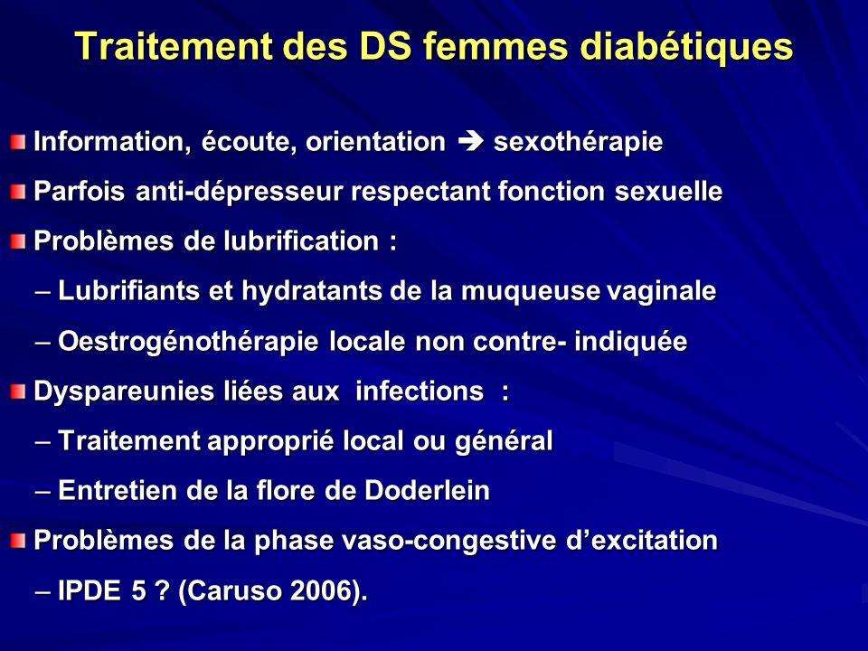 Traitement des DS femmes diabétiques Information, écoute, orientation sexothérapie Information, écoute, orientation sexothérapie Parfois anti-dépresse