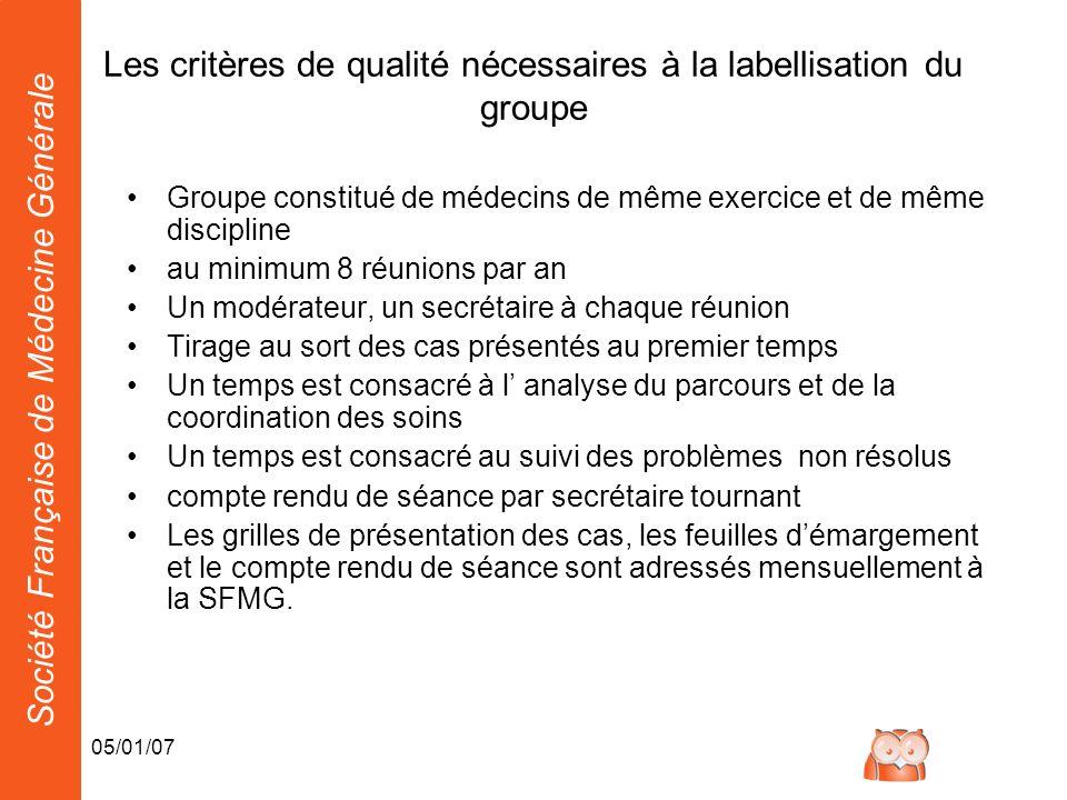Société Française de Médecine Générale 05/01/07 Les critères de qualité nécessaires à la labellisation du groupe Groupe constitué de médecins de même