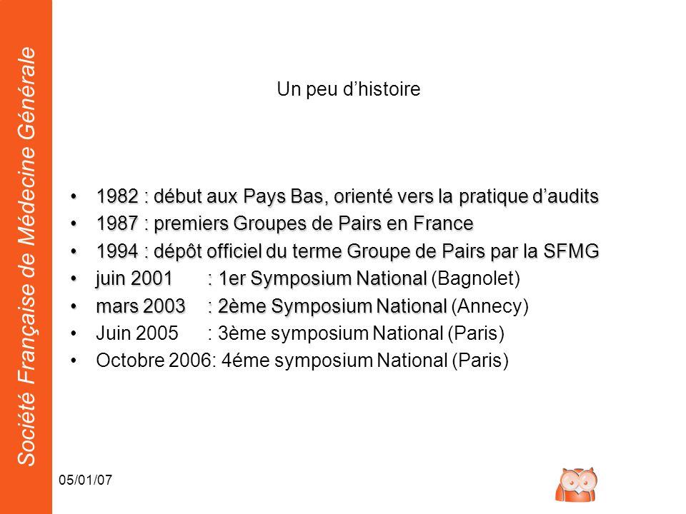 Société Française de Médecine Générale 05/01/07 Un peu dhistoire 1982 : début aux Pays Bas, orienté vers la pratique daudits1982 : début aux Pays Bas,