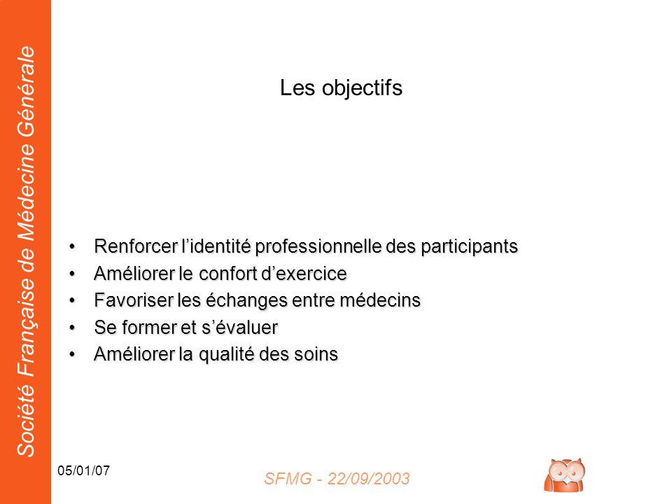 Société Française de Médecine Générale 05/01/07 Les objectifs Renforcer lidentité professionnelle des participantsRenforcer lidentité professionnelle