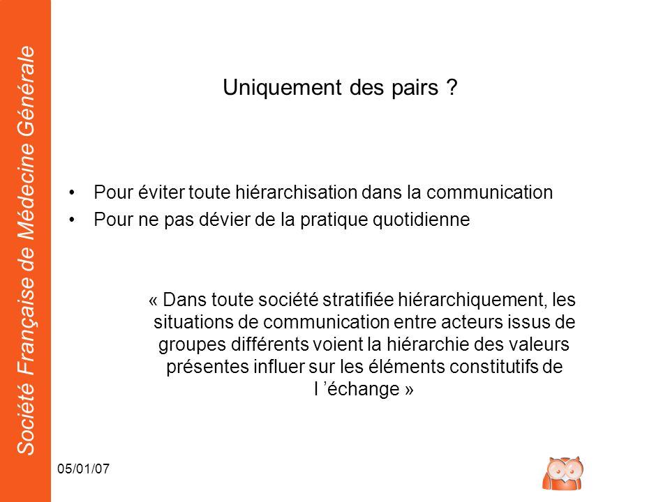 Société Française de Médecine Générale 05/01/07 Uniquement des pairs ? Pour éviter toute hiérarchisation dans la communication Pour ne pas dévier de l