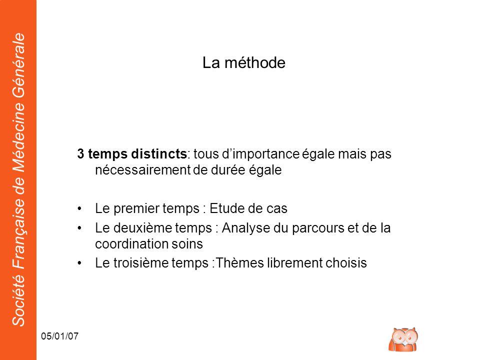Société Française de Médecine Générale 05/01/07 La méthode 3 temps distincts: tous dimportance égale mais pas nécessairement de durée égale Le premier