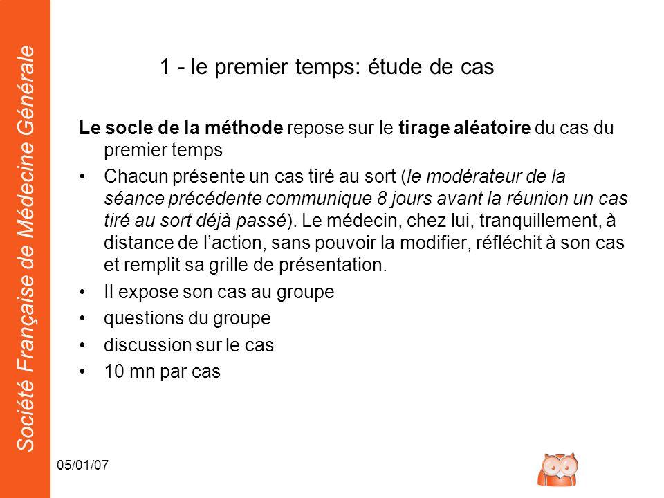 Société Française de Médecine Générale 05/01/07 1 - le premier temps: étude de cas Le socle de la méthode repose sur le tirage aléatoire du cas du pre