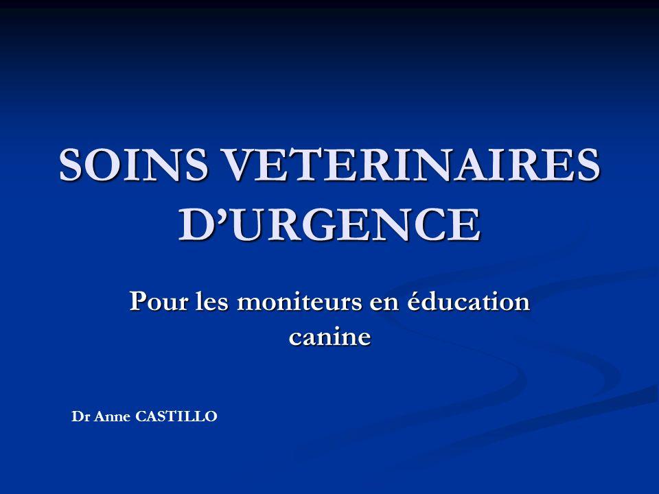 SOINS VETERINAIRES DURGENCE Pour les moniteurs en éducation canine Dr Anne CASTILLO