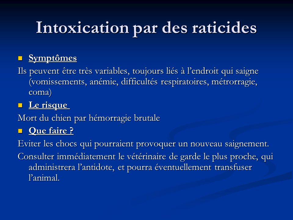 Intoxication par des raticides Symptômes Symptômes Ils peuvent être très variables, toujours liés à lendroit qui saigne (vomissements, anémie, difficu