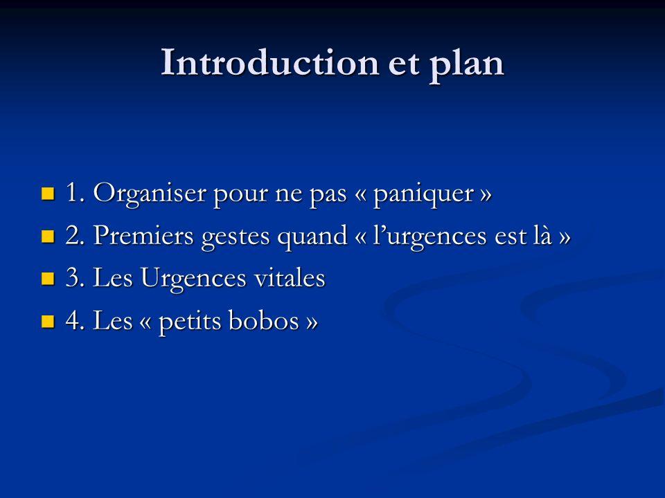 Introduction et plan 1. Organiser pour ne pas « paniquer » 1. Organiser pour ne pas « paniquer » 2. Premiers gestes quand « lurgences est là » 2. Prem