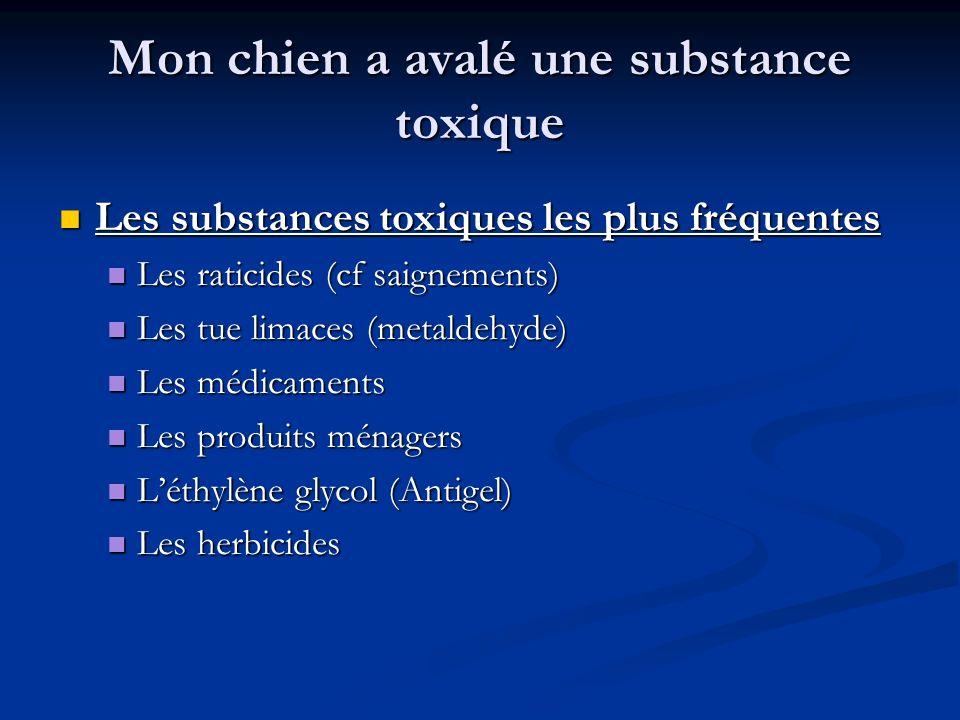 Mon chien a avalé une substance toxique Les substances toxiques les plus fréquentes Les substances toxiques les plus fréquentes Les raticides (cf saig