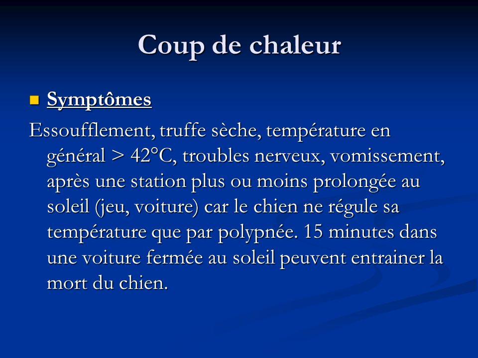 Coup de chaleur Symptômes Symptômes Essoufflement, truffe sèche, température en général > 42°C, troubles nerveux, vomissement, après une station plus