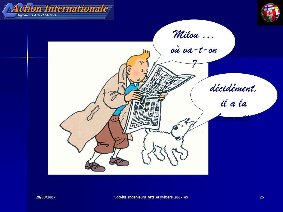 29/03/2007Société Ingénieurs Arts et Métiers 2007 ©26 Milou … où va-t-on ? décidément, il a la bougeotte