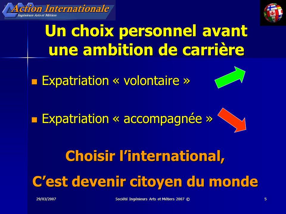 29/03/2007Société Ingénieurs Arts et Métiers 2007 ©16 Mobilité internationale : Quand .