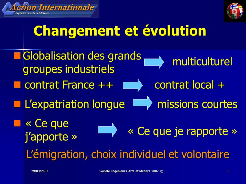 29/03/2007Société Ingénieurs Arts et Métiers 2007 ©6 Changement et évolution multiculturel missions courtes Globalisation des grands groupes industrie