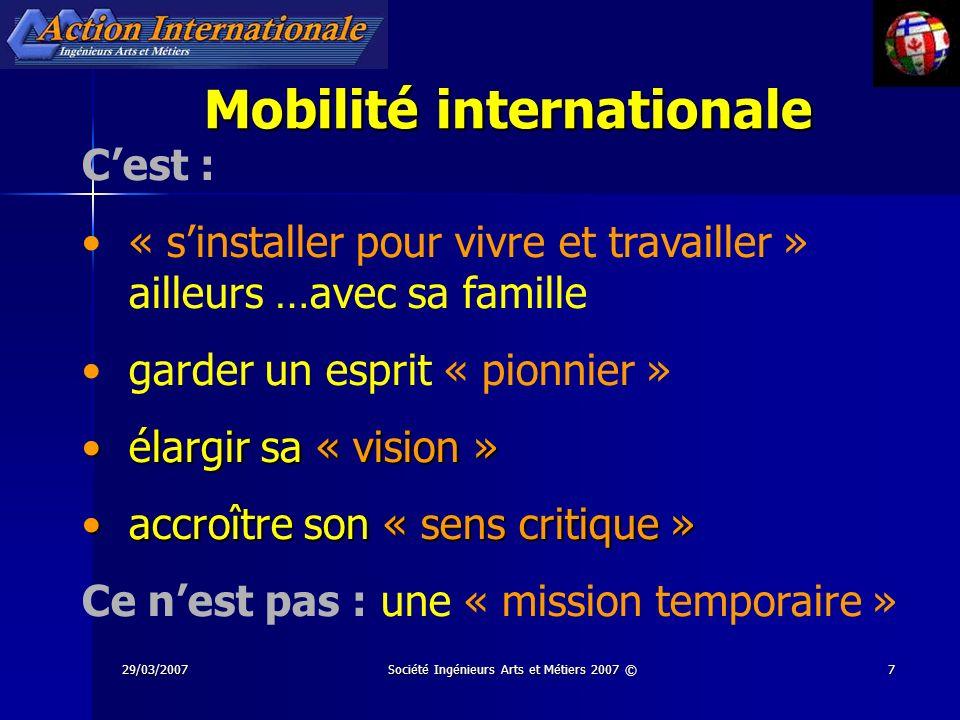 29/03/2007Société Ingénieurs Arts et Métiers 2007 ©7 Mobilité internationale Cest : « sinstaller pour vivre et travailler » ailleurs …avec sa famille