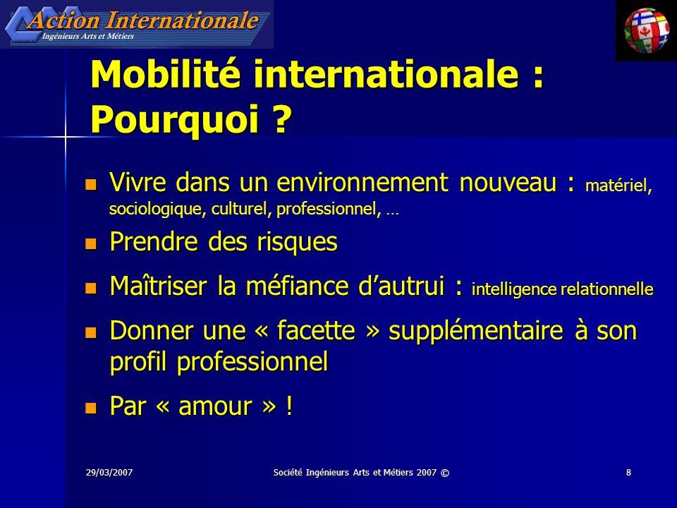 29/03/2007Société Ingénieurs Arts et Métiers 2007 ©19 Les Gadzarts hors Métropole … … un réseau 1350 gadzarts déclarés résident hors métropole (oct.