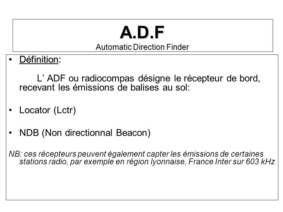 A.D.F Automatic Direction Finder Définition:Définition: L ADF ou radiocompas désigne le récepteur de bord, recevant les émissions de balises au sol: L