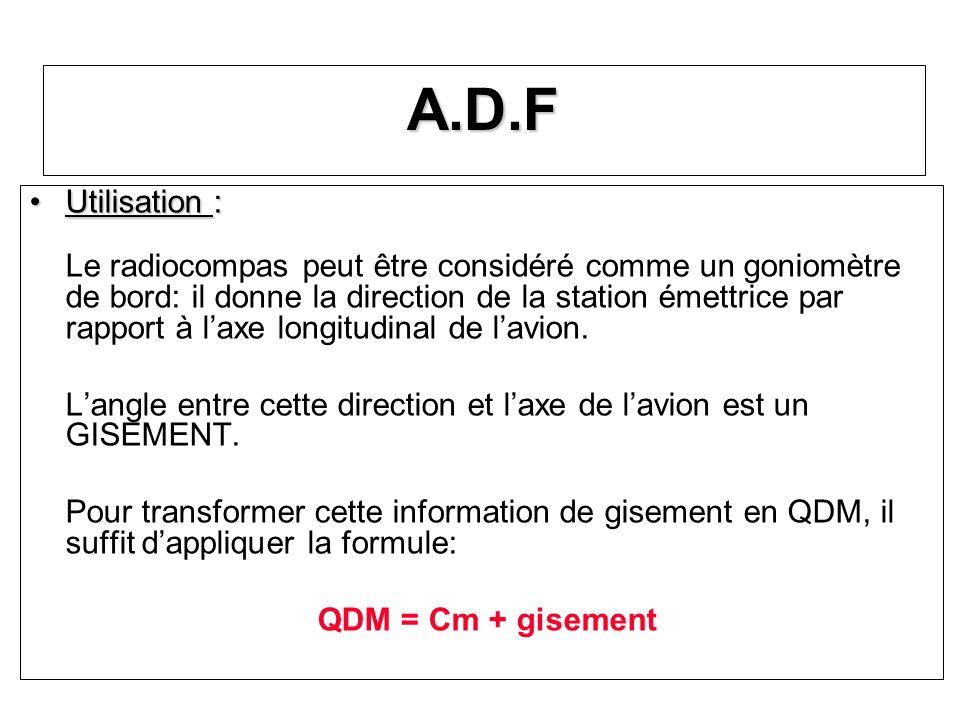 A.D.F Utilisation :Utilisation : Le radiocompas peut être considéré comme un goniomètre de bord: il donne la direction de la station émettrice par rap