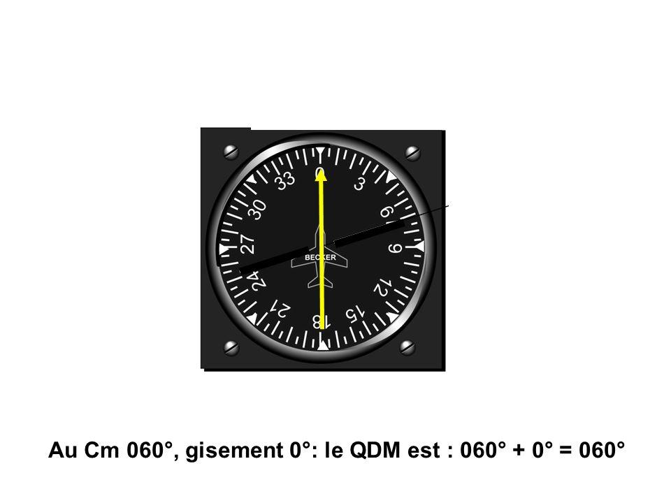 Au Cm 060°, gisement 0°: le QDM est : 060° + 0° = 060°