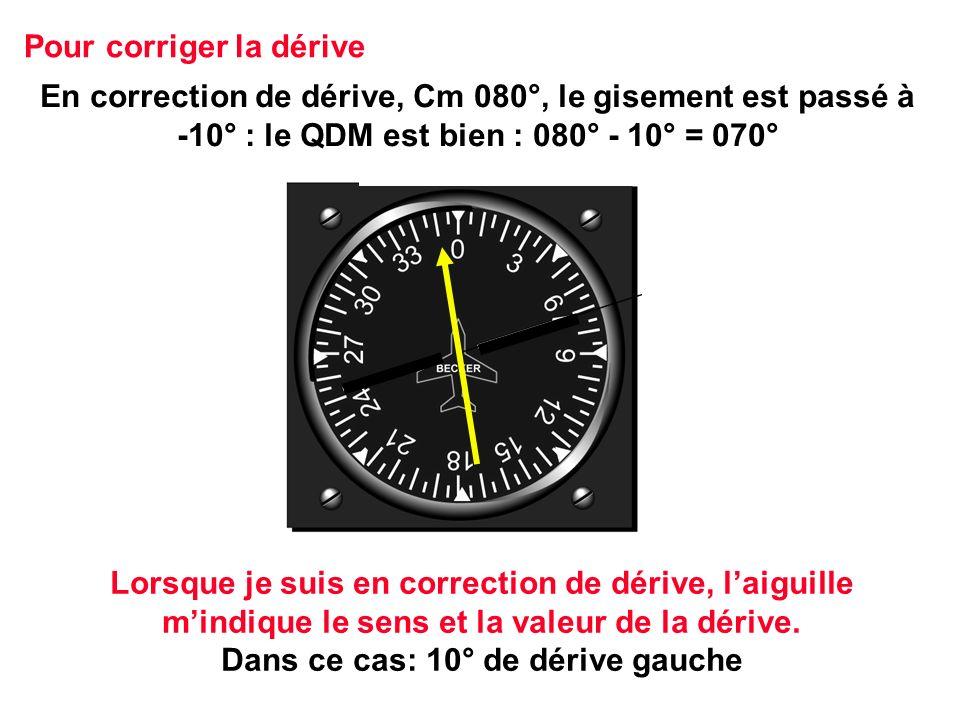 En correction de dérive, Cm 080°, le gisement est passé à -10° : le QDM est bien : 080° - 10° = 070° Pour corriger la dérive Lorsque je suis en correc