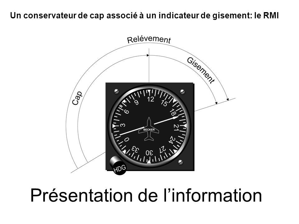 Présentation de linformation Un conservateur de cap associé à un indicateur de gisement: le RMI