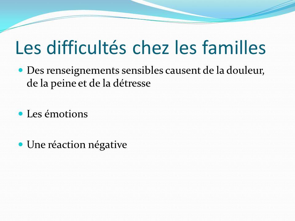 Les difficultés chez les familles Des renseignements sensibles causent de la douleur, de la peine et de la détresse Les émotions Une réaction négative