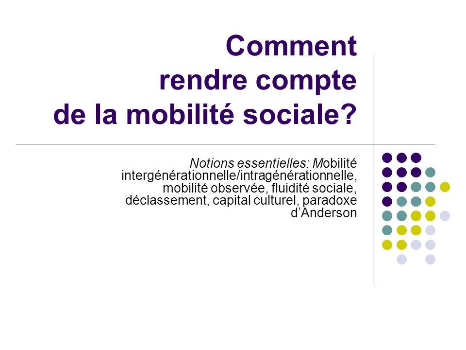 Comment rendre compte de la mobilité sociale.