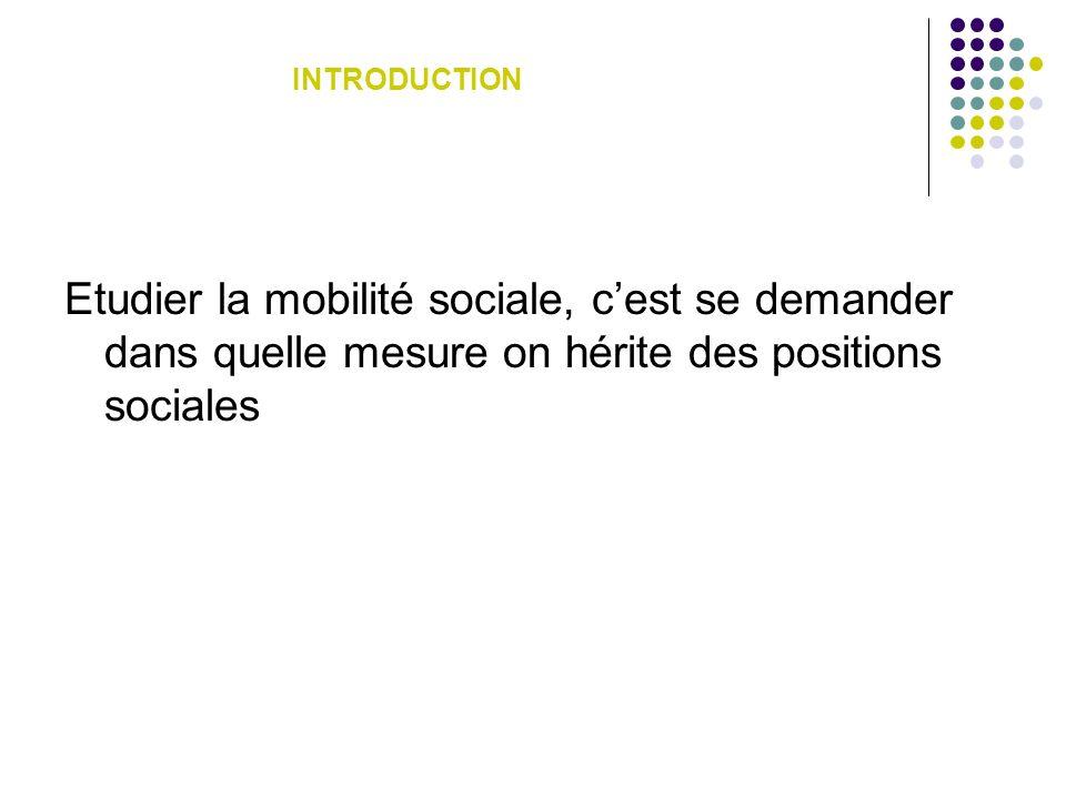 Etudier la mobilité sociale, cest se demander dans quelle mesure on hérite des positions sociales INTRODUCTION