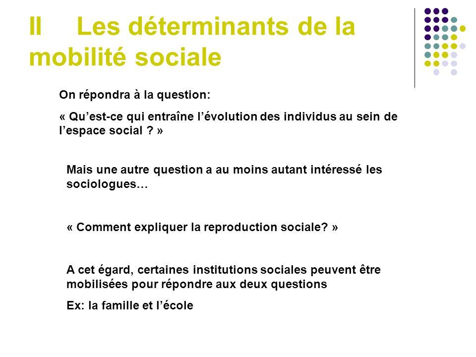 IILes déterminants de la mobilité sociale On répondra à la question: « Quest-ce qui entraîne lévolution des individus au sein de lespace social .