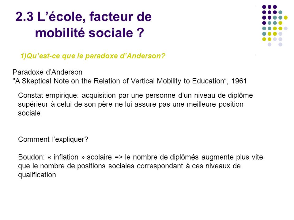 2.3 Lécole, facteur de mobilité sociale .