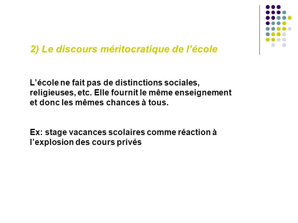 2) Le discours méritocratique de lécole Lécole ne fait pas de distinctions sociales, religieuses, etc.
