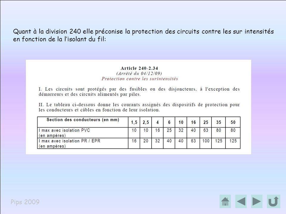 Pips 2009 Quant à la division 240 elle préconise la protection des circuits contre les sur intensités en fonction de la lisolant du fil: