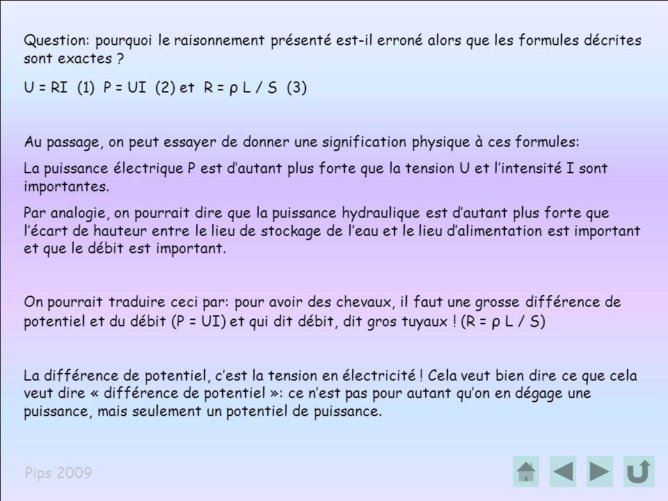 Pips 2009 Question: pourquoi le raisonnement présenté est-il erroné alors que les formules décrites sont exactes ? U = RI (1) P = UI (2) et R = ρ L /
