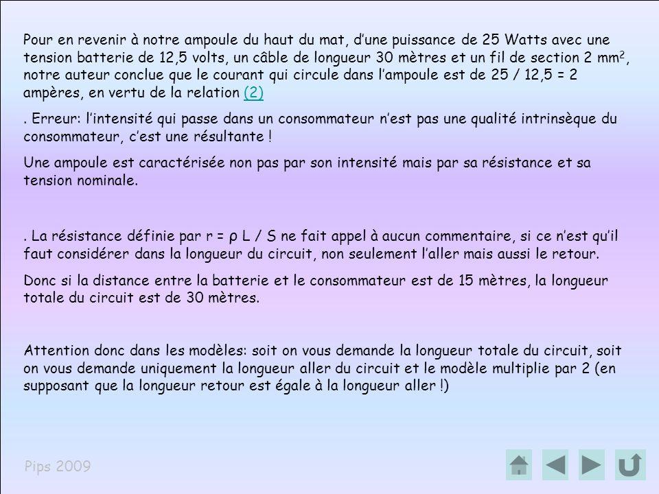 Pips 2009.Doù la chute de tension = 0,255 X 2 ( R X I), erreur car lintensité nest pas la bonne .