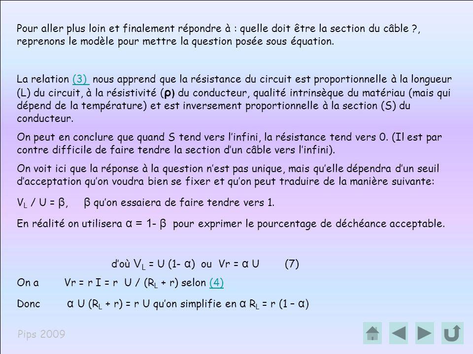 Pips 2009 Et selon (5) α U 2 /P = r (1 – α)(5) Or selon (3) α U 2 /P = ( 1 – α) ρ L / S(3) Après simplification S = ρ P L (1 – α )(8) α U 2 Arrêtons nous un instant sur cette formule qui nous enseigne que la section du câble sera dautant plus grande que la puissance à passer sera élevée et que la longueur du câble sera importante.