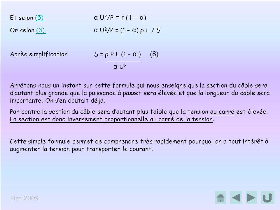 Pips 2009 Et selon (5) α U 2 /P = r (1 – α)(5) Or selon (3) α U 2 /P = ( 1 – α) ρ L / S(3) Après simplification S = ρ P L (1 – α )(8) α U 2 Arrêtons n