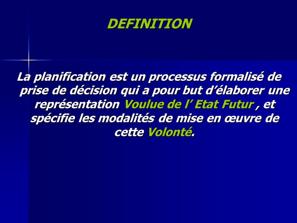 DEFINITION La planification est un processus formalisé de prise de décision qui a pour but délaborer une représentation Voulue de l Etat Futur, et spé