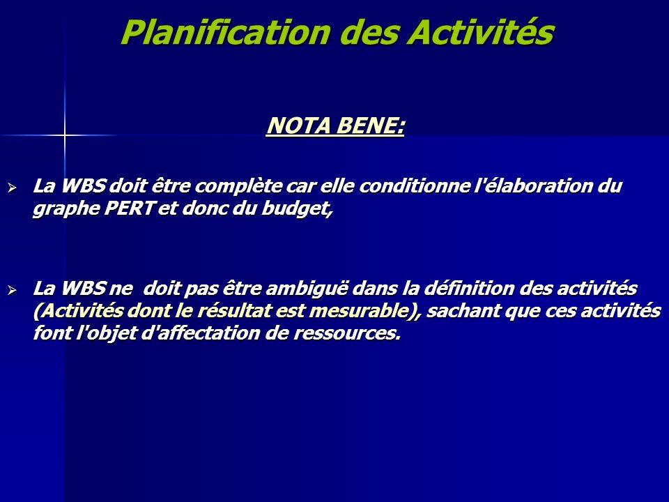 Planification des Activités NOTA BENE: La WBS doit être complète car elle conditionne l'élaboration du graphe PERT et donc du budget, La WBS doit être
