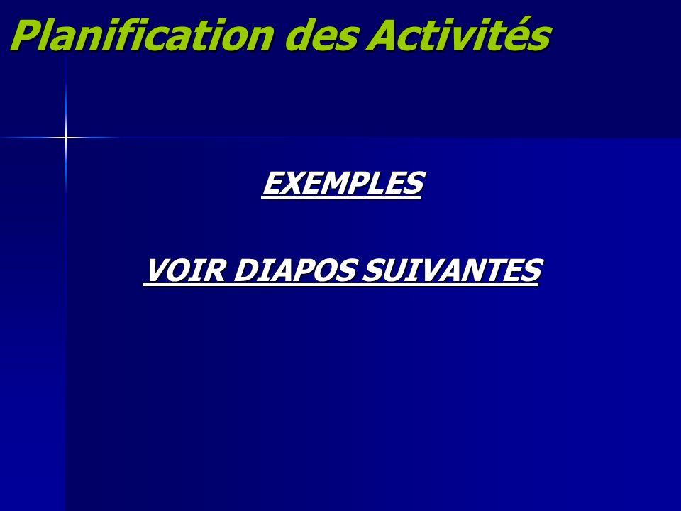Planification des Activités EXEMPLES VOIR DIAPOS SUIVANTES