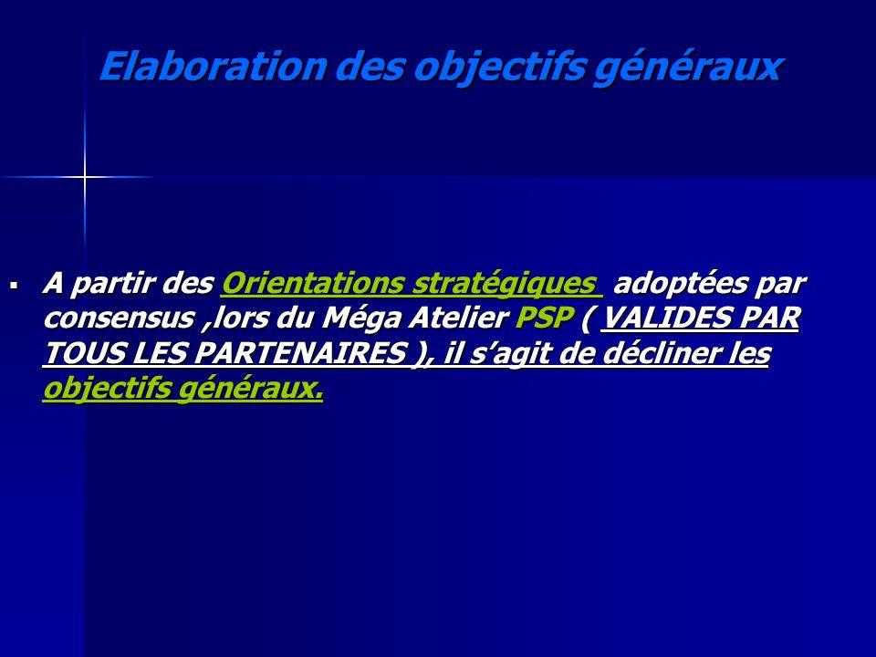 Elaboration des objectifs généraux A partir des Orientations stratégiques adoptées par consensus,lors du Méga Atelier PSP ( VALIDES PAR TOUS LES PARTE