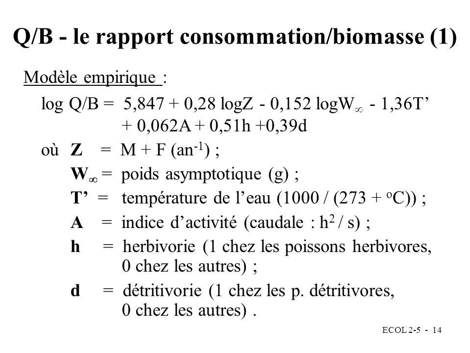 ECOL 2-5 - 14 Modèle empirique : log Q/B = 5,847 + 0,28 logZ - 0,152 logW - 1,36T + 0,062A + 0,51h +0,39d oùZ = M + F (an -1 ) ; W = poids asymptotique (g) ; T = température de leau (1000 / (273 + o C)) ; A = indice dactivité (caudale : h 2 / s) ; h = herbivorie (1 chez les poissons herbivores, 0 chez les autres) ; d = détritivorie (1 chez les p.