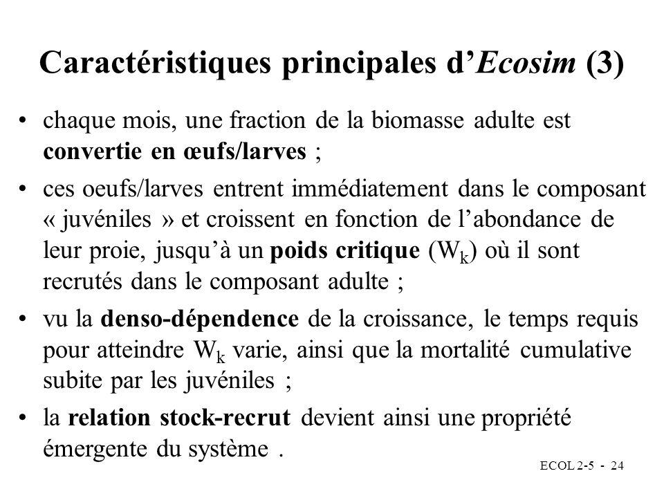 ECOL 2-5 - 24 Caractéristiques principales dEcosim (3) chaque mois, une fraction de la biomasse adulte est convertie en œufs/larves ; ces oeufs/larves