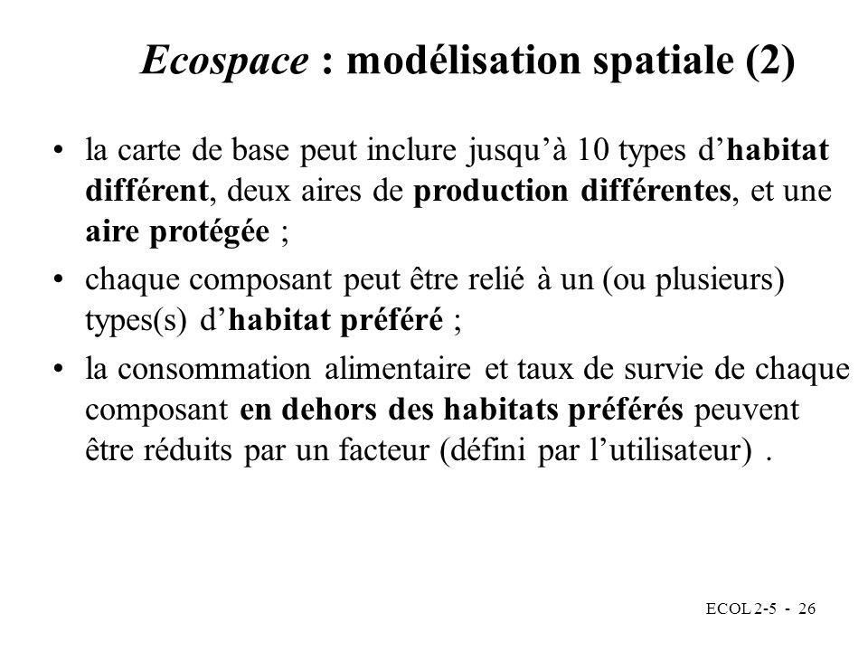 ECOL 2-5 - 26 Ecospace : modélisation spatiale (2) la carte de base peut inclure jusquà 10 types dhabitat différent, deux aires de production différentes, et une aire protégée ; chaque composant peut être relié à un (ou plusieurs) types(s) dhabitat préféré ; la consommation alimentaire et taux de survie de chaque composant en dehors des habitats préférés peuvent être réduits par un facteur (défini par lutilisateur).