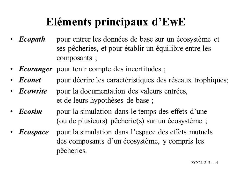 ECOL 2-5 - 4 Ecopath pour entrer les données de base sur un écosystème et ses pêcheries, et pour établir un équilibre entre les composants ; Ecoranger pour tenir compte des incertitudes ; Econet pour décrire les caractéristiques des réseaux trophiques; Ecowrite pour la documentation des valeurs entrées, et de leurs hypothèses de base ; Ecosim pour la simulation dans le temps des effets dune (ou de plusieurs) pêcherie(s) sur un écosystème ; Ecospace pour la simulation dans lespace des effets mutuels des composants dun écosystème, y compris les pêcheries.