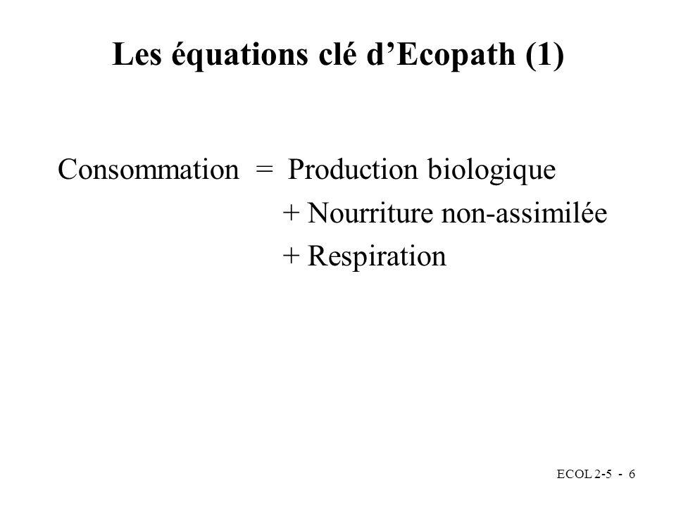 ECOL 2-5 - 6 Les équations clé dEcopath (1) Consommation = Production biologique + Nourriture non-assimilée + Respiration