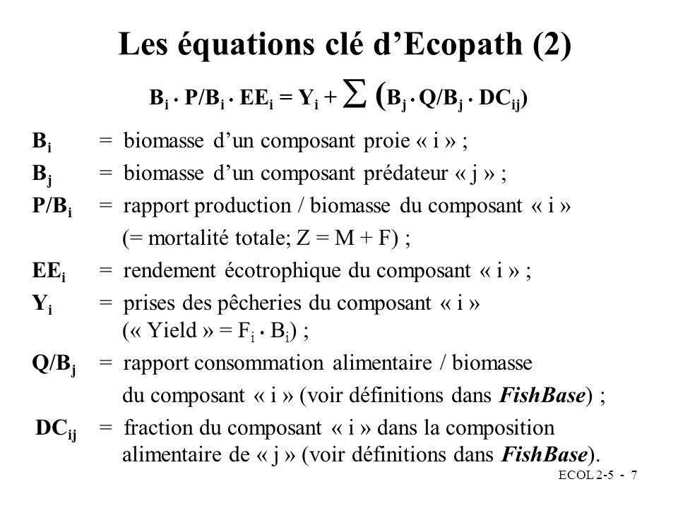 ECOL 2-5 - 7 Les équations clé dEcopath (2) B i P/B i EE i = Y i + ( B j Q/B j DC ij ) B i = biomasse dun composant proie « i » ; B j = biomasse dun composant prédateur « j » ; P/B i = rapport production / biomasse du composant « i » (= mortalité totale; Z = M + F) ; EE i = rendement écotrophique du composant « i » ; Y i = prises des pêcheries du composant « i » (« Yield » = F i B i ) ; Q/B j = rapport consommation alimentaire / biomasse du composant « i » (voir définitions dans FishBase) ; DC ij = fraction du composant « i » dans la composition alimentaire de « j » (voir définitions dans FishBase).